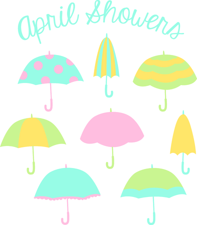 Hooray for rainy days!  Everyone likes to sing in the rain.  Have these ready for the next rainy day.  Everyone will love it! Иллюстрация