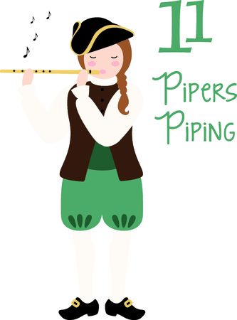 twelfth night: A favorite holiday song, The tweleve Days of Christmas. The eleventh day, 11 pipers piping. Patriot playing the flute with music notes. Illustration