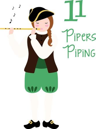 Une chanson de vacances préférée, Les Tweleve jours de Noël. Le onzième jour, 11 cornemuseurs tuyauterie. Patriot jouant de la flûte avec des notes de musique.
