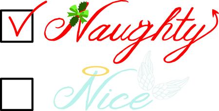 좋은 천사의 날개 또는 장난 꾸러기 악마 크리스마스 목록 상자를 선택합니다. 일러스트