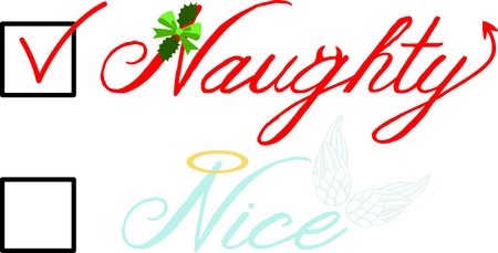 naughty or nice: Check box for nice angel wings or naughty devil Christmas list.