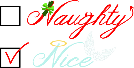 Check box for nice angel wings or naughty devil Christmas list.