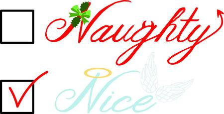 Cochez la case pour ailes d'ange ou diable vilain belles liste de Noël. Vecteurs