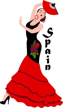 플라멩코 댄서와 스페인 문화를 축하. 일러스트
