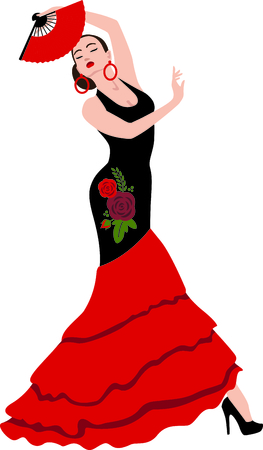 danseuse flamenco: Célébrez la culture espagnole avec danseuse de flamenco. Illustration