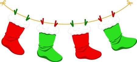 Dekorieren für Weihnachten mit dieser Reihe von grünen und roten Strümpfen. Standard-Bild - 43843054