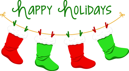 녹색과 빨강의 스타킹이 달린 크리스마스 장식.