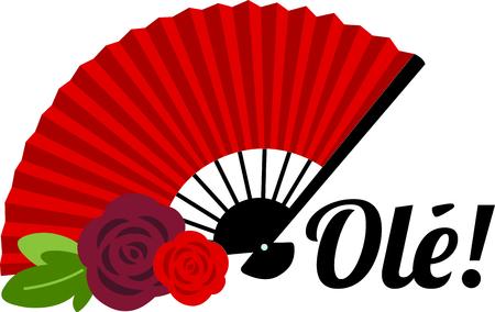 Célébrez la culture espagnole avec Flamenco ventilateur. Banque d'images - 43843808