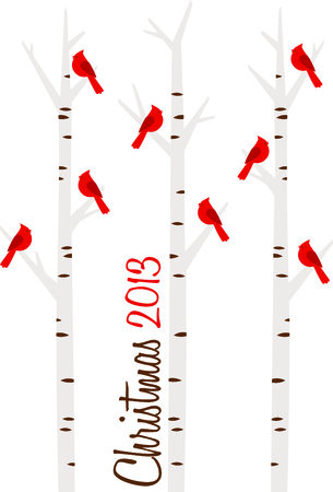 dormant: Winter Cardinals perched in birch trees makes a nice design for the season.