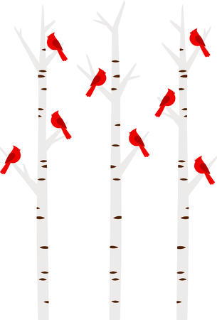 Winter Cardinals perched in birch trees makes a nice design for the season.