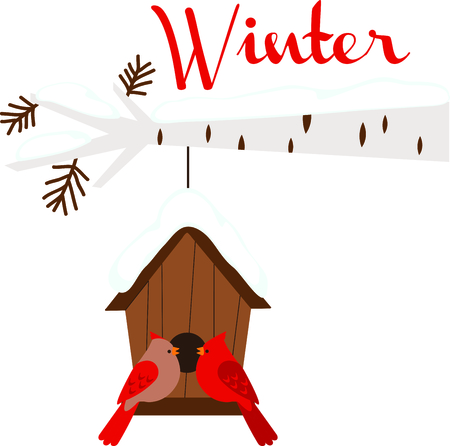 avian: Winter Cardinals hanging at their birdhouse makes a nice design for the season. Illustration
