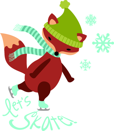 This cute ice skating fox would be wonderful for winter themed children's sports designs. Ilustracja