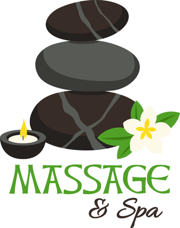 hot stone massage: Zen and relaxation from a hot stone massage.  Stitched along with a fragrant candle and plumeria this design is just perfect.