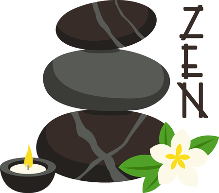 scented candle: Zen and relaxation from a hot stone massage.  Stitched along with a fragrant candle and plumeria this design is just perfect.