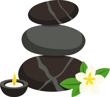 hot stones: Zen and relaxation from a hot stone massage.  Stitched along with a fragrant candle and plumeria this design is just perfect.