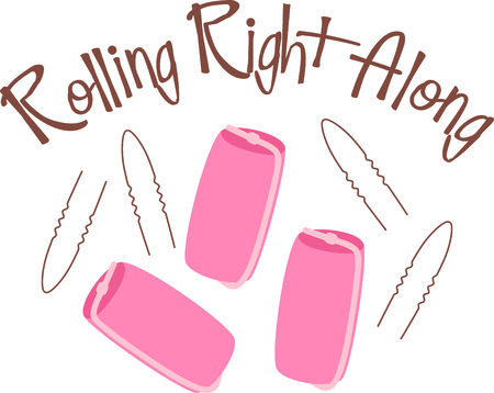 The old stable of pink sponge rollers and bobby pins are in everyones hair supplies.  Stitch this fun design on your hair towels or beautician cape!