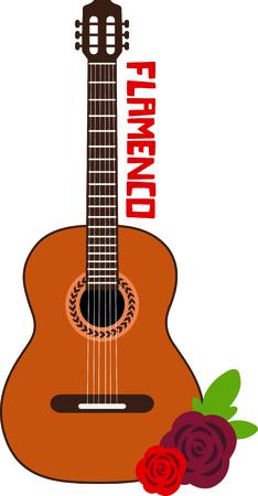 spanish culture: Celebrate Spanish culture with Flamenco guitar. Illustration