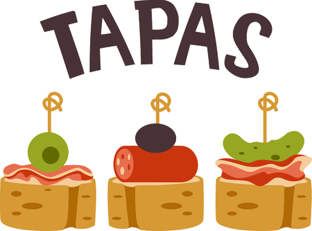 spanish food: Celebrate Spanish culture with Tapas. Illustration