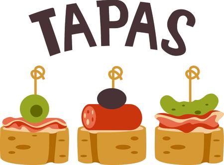 Vier Spaanse cultuur met Tapas. Stock Illustratie