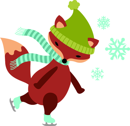 This cute ice skating fox would be wonderful for winter themed children's designs or Christmas decorating.