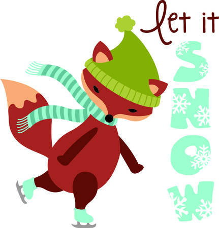 critter: This cute ice skating fox would be wonderful for winter themed childrens designs or Christmas decorating.
