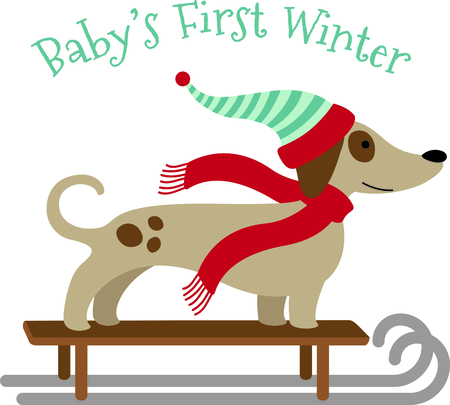 This cute sleding dog would be wonderful for winter themed children's designs or Christmas decorating.