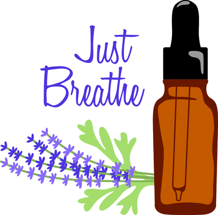 lavender oil: Lavender oil soothes the senses with its sweet fragrance.  Stitch this sprig of lavender and oil bottle on towels and robes for your aroma therapy spa.