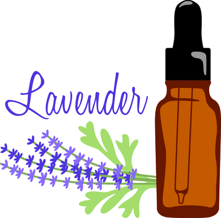 Lavender oil soothes the senses with its sweet fragrance.  Stitch this sprig of lavender and oil bottle on towels and robes for your aroma therapy spa.