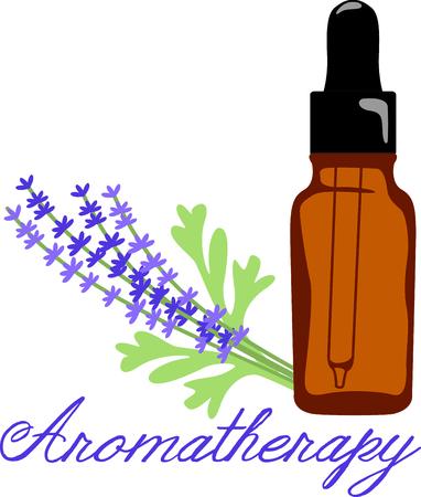 ラベンダー オイルは、甘い香りで五感を癒します。 タオルとローブ、アロマ療法スパのラベンダーや油のボトルのこの小枝をステッチします。  イラスト・ベクター素材
