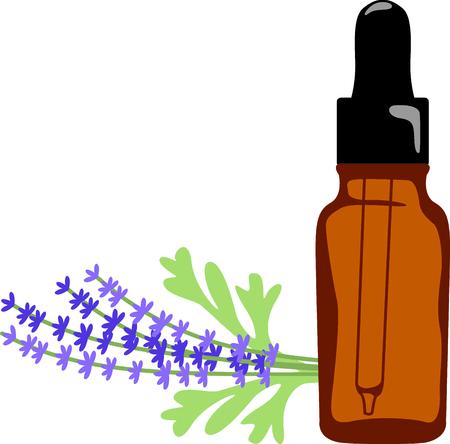 ラベンダー オイルは、甘い香りで五感を癒します。 タオルとローブ、アロマ療法スパのラベンダーや油のボトルのこの小枝をステッチします。 写真素材 - 43844500