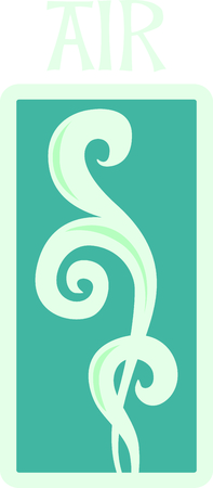 This lovely swirl design signifies one of the classic elements; air.  Look for the other designs of this set to stitch out a lovely set of towels.