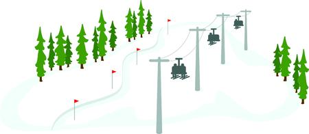 Les skieurs sur un télésiège pour les amateurs de sports d'hiver. Banque d'images - 43844610
