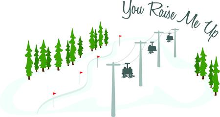 Les skieurs sur un télésiège pour les amateurs de sports d'hiver. Banque d'images - 43844612