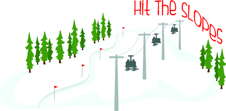 chair on the lift: Skiers on a chair lift for the winter sports enthusiast.