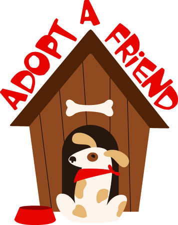animal shelter: This cute dog house is the perfect image for your next design. Illustration