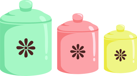 mats: Be reminded of grandmas kitchen with these vintage cannisters in throwback colors.  They are a great embellishment for dish towels and mats in your kitchen.