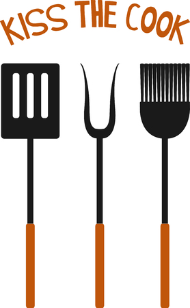 Grill cooks like nice utensils to work with. Imagens - 43867313