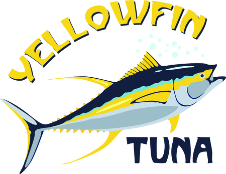 , 잘한다 호출, 참치를 전화 노란색 지느러미 또는 스시를 호출 - 당신이 깔끔하게 스티치 물고기를 필요로 할 때이 물고기가 법안을 맞는 데요. 일러스트