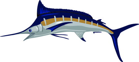 A big blue maralin is indeed a prize catch.  Stitch this prize winning fish on your projects for a special angler. Ilustrace