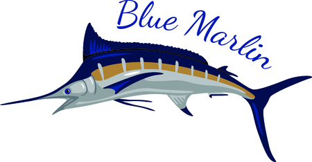 fishes: A big blue maralin is indeed a prize catch.  Stitch this prize winning fish on your projects for a special angler. Illustration