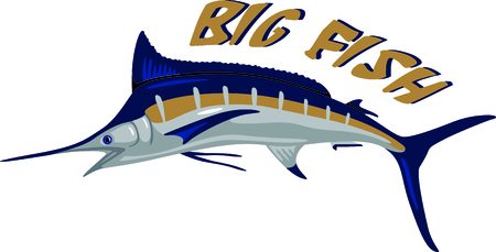 A big blue maralin is indeed a prize catch.  Stitch this prize winning fish on your projects for a special angler. Иллюстрация