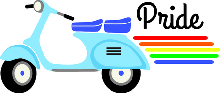 vespa: If you know someone who wants to display their gay pride they can do it with a vespa scooter. Illustration