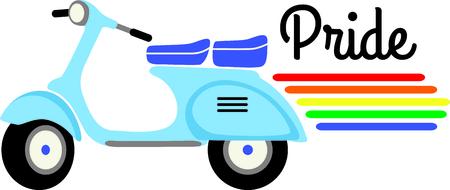 Se conosci qualcuno che vuole mostrare il loro orgoglio gay possono farlo con uno scooter vespa. Archivio Fotografico - 43867363