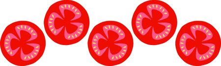 Delicious tomatoes are a summer time food favorite. Иллюстрация
