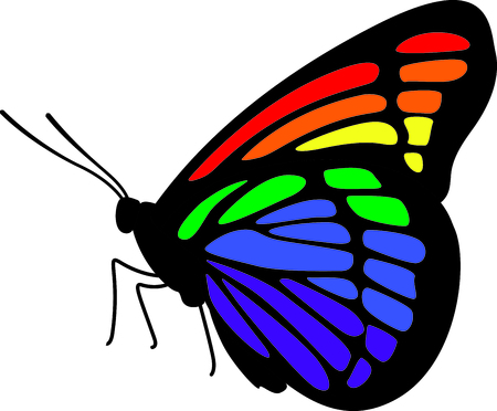 gay pride rainbow: If you know someone who wants to display their gay pride they can do it with a butterfly.