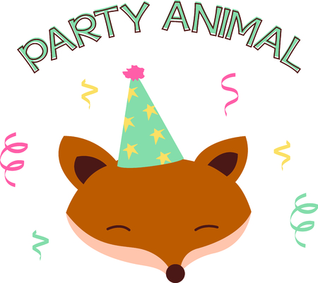 Say Happy Birthday with our friendly little fox friend all dressed up in his party hat.  Perfect for your party dcor embroidery!