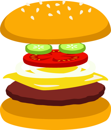 delight: Cheeseburgers are a fast food delight. Illustration