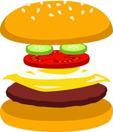 comida rápida: Cheeseburgers are a fast food delight. Vectores