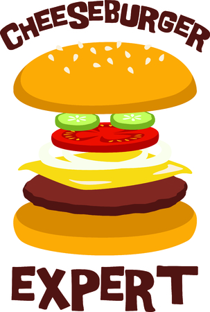 Cheeseburgers are a fast food delight. 向量圖像