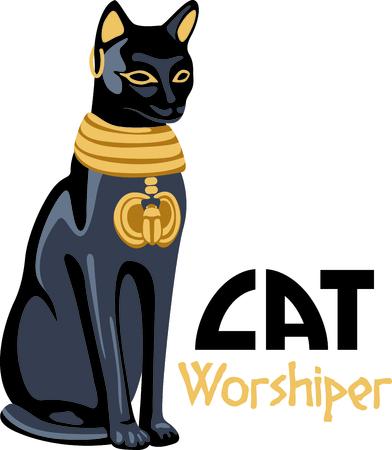 Vier Egyptische cultuur met een mooie kat standbeeld. Stock Illustratie